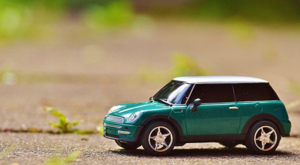 toy mini cooper on gravel