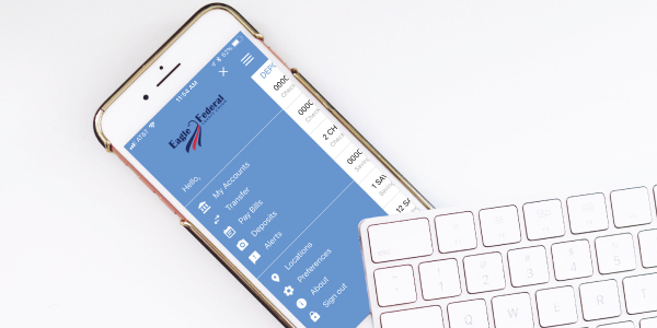 eagle federal login screen on cell phone with keyboard