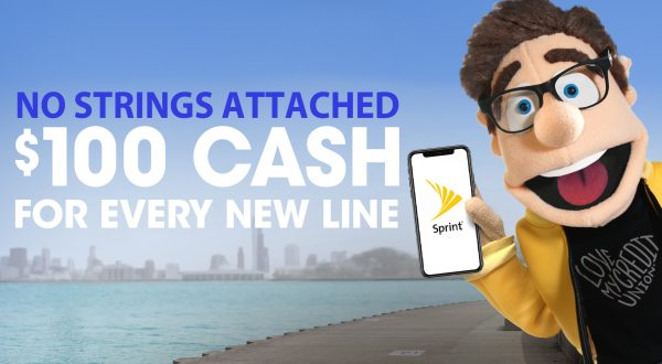 Sprint Advertisement, puppet with cell phone